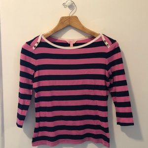 Lilly Pulitzer Striped Boatneck Pink/Navy Shirt